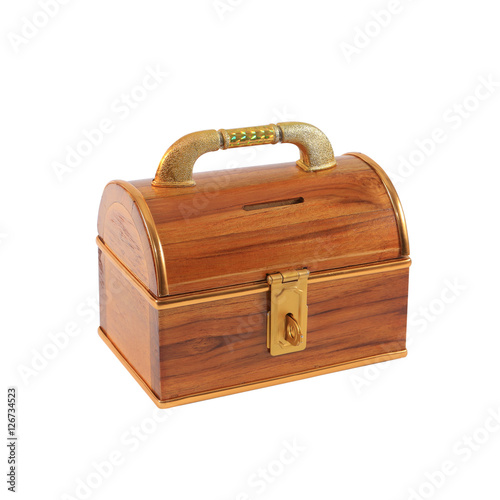 treasure chest money box with a coin slot isolated on white Poster