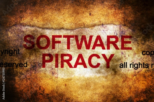 Poster Software piracy grunge concept