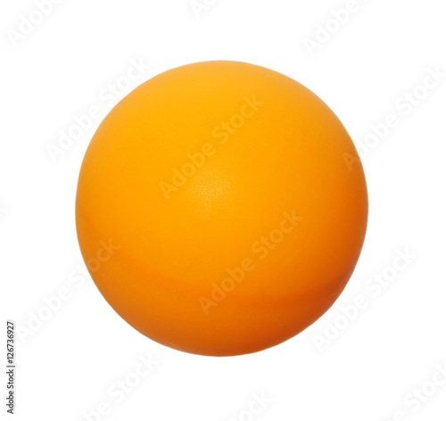Orange ping-pong ball isolated on white, clipping path