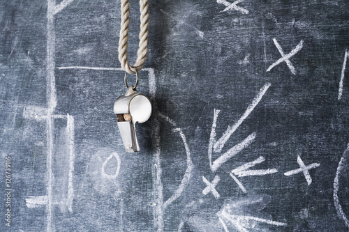 whistle of a soccer or football referee on black board with tact Poster
