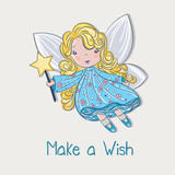 Cute little fairy in blue floral dress with make a wish message
