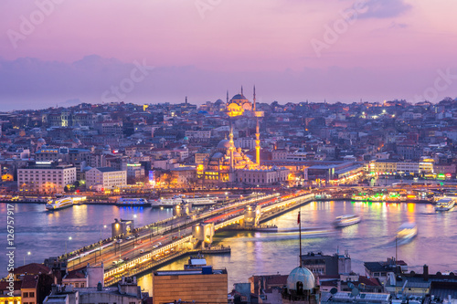 Poster sundown from galata towerin istanbul ,turkey