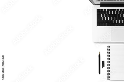 White Minimal Office Desk Table With Laptop, Notebook And Pen. Top View  With Copy