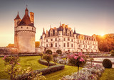 Chateau (castle) de Chenonceau at sunset, France