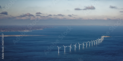 Wind farm in sea Poster