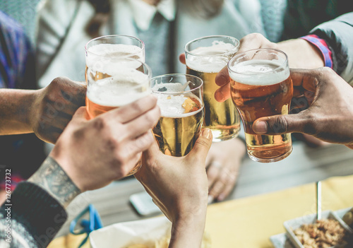 Group of friends enjoying a beer