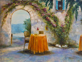 Art Oil-Painting Picture Summer Cafe