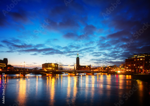 skyline and city hall of Stockholm at night, Sweden, toned Poster