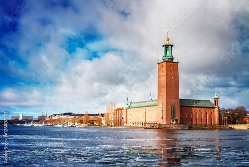 Fotobehang Stockholm The City Hall Stadshuset in Stockholm with winter ice, Sweden, toned