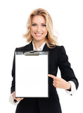 young businesswoman showing blank clipboard