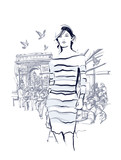 Woman walking at the Champs-Elysees - 126810153