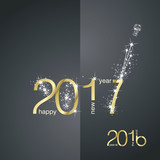 New Year 2017 The End 2016 gold black vector