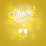 Cheers Party Sign Champagne Design Background - 126812708