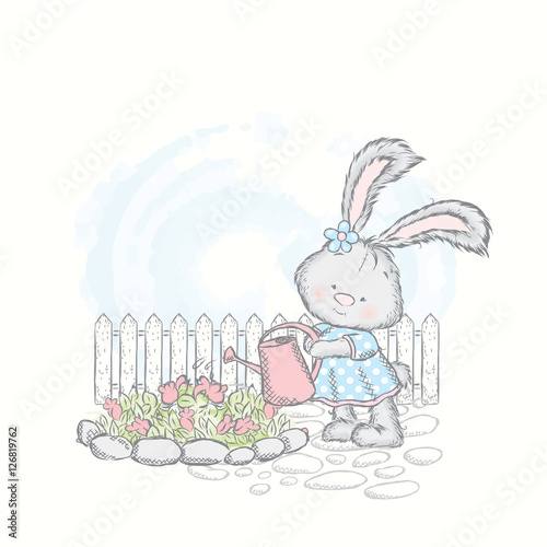 Fototapeta Honey Bunny in a dress watering flowers. Vector illustration for a card or poster. Leveret in the garden.