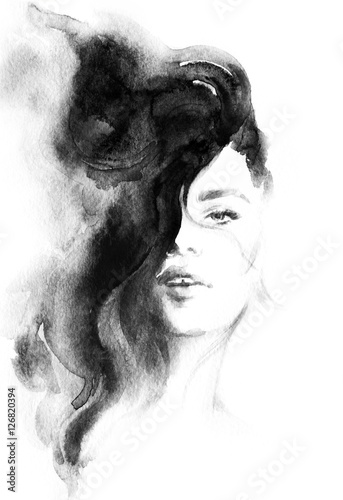 woman portrait .abstract watercolor .fashion background - 126820394