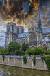 Wonderful sky on Notre Dame Cathedral, Paris