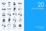 Set of BLUE HAMSTER Library smart glasses icons