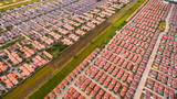 Aerial view of Housing estate, Shot from drone