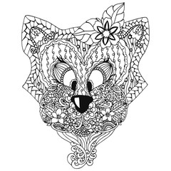 Vector illustration zentangl, a cat with an ornament Doodle floral drawing. A meditative exercises. Coloring book anti stress for adults. Black and white.