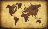 Mappa del mondo su vecchia pergamena