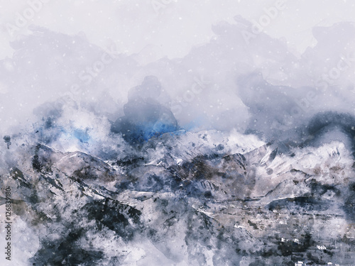 Obraz Mountains landscape in winter, digital watercolor painting