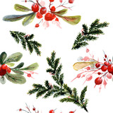 Fototapety Watercolor Christmas seamless pattern with berry and christmas-tree.