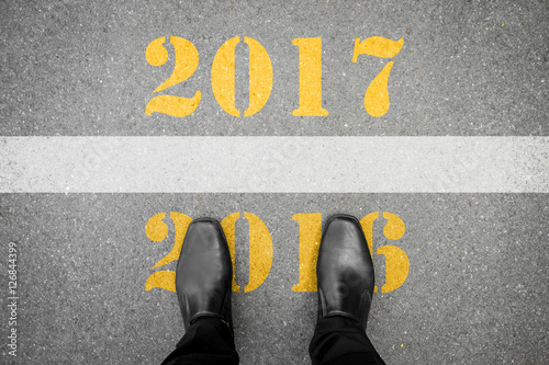 Poster Shoes standing at new year 2017 line