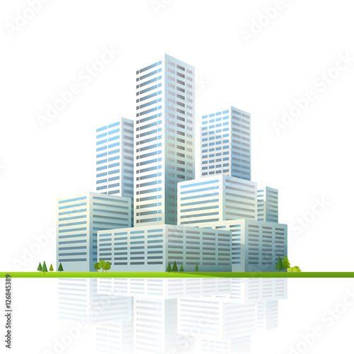 Modern cityscape vector illustration. Business city skyscrapers