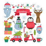 Christmas holiday elements for graphic and web design