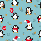 Seamless pattern with cute Christmas penguins. Vector holiday background.