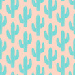 Seamless pattern with cactus in blue on pink background. - 126865380