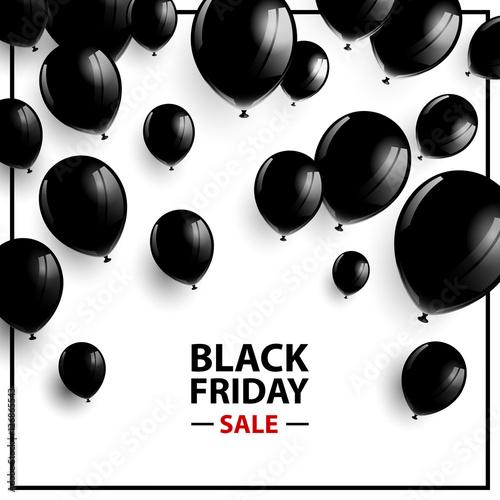Ilustracja wektorowa plakat czarny piątek sprzedaż z czarne balony