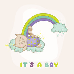 Baby Cat Sleeping on a Rainbow - Baby Shower or Arrival Card - in vector