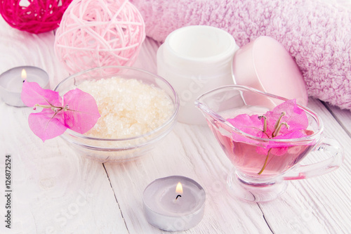 Spa set on white wooden background Poster