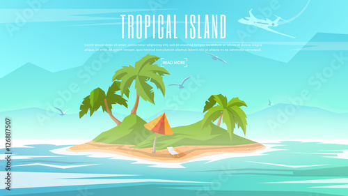 Foto op Plexiglas Turkoois Vector banner on the theme of Paradise Island with Tropical Palm