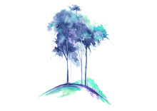 Watercolor  tree isolated on white background. Vintage drawing.