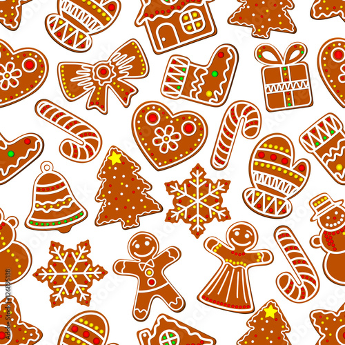 Materiał do szycia Ginger cookie Christmas dessert seamless pattern