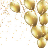Festive background with gold balloons and confetti Vector