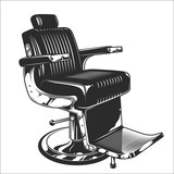 Fototapety Monochrome illustration of barbershop chair. Leather with chrome elements. Isolated on white background