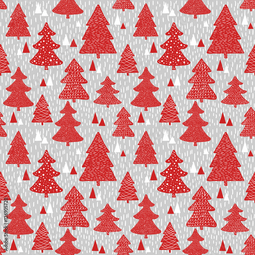 Cotton fabric Seamless pattern with hand drawn christmas trees