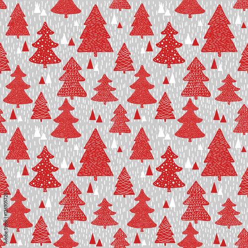 Materiał do szycia Seamless pattern with hand drawn christmas trees