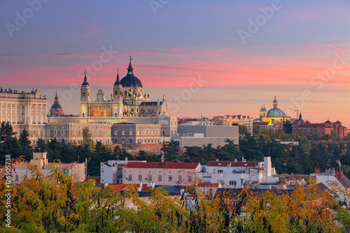 Madrid. Image of Madrid skyline with Santa Maria la Real de La Almudena Cathedral and the Royal Palace during sunset.