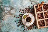 coffee beans in old wooden box