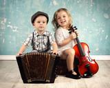 Fototapety lachende Kinder mit Musikinstrumenten - Retro Style