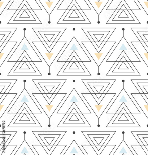 seamless pattern with abstract minimalistic ornament - 126919730