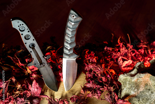 Pair of excellent stainless outdoor or army knife Poster