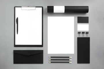 Mockup business brand template on gray background