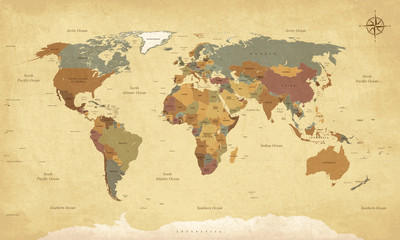 Textured vintage world map - English/US Labels - Vector CMYK © Neyriss