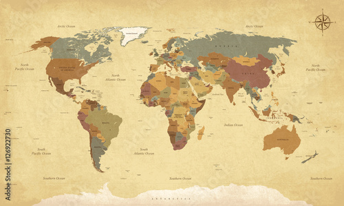 Fototapety, obrazy : Textured vintage world map - English/US Labels - Vector CMYK