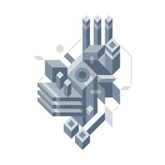 Abstract composition of complicated geometric shapes. Style of modern art and graffiti. The design element is isolated on a white background, suitable for prints, posters and covers.